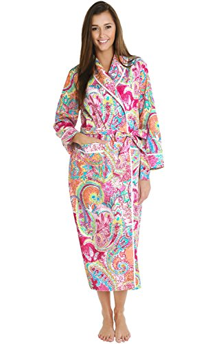 Alexander Del Rossa Womens Cotton Robe, Lightweight Woven Bathrobe, Large Vibrant Pink Paisley (A0515P81LG)