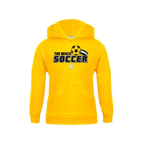 Long Beach State Youth Gold Fleece Hoodie Soccer Swoosh Design