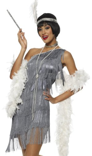 Costume Culture Dazzling Flapper Adult Costume, Grey, Small ()