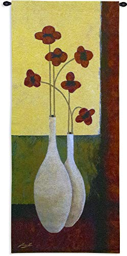 Bouquet de Six by Jocelyne Anderson-Tapp | Woven Tapestry Wall Art Hanging | Contemporary Red Flowers Minimalist Still Life | 100% Cotton USA Size 62x27