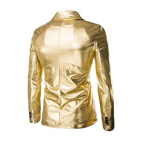 Chaqueta Laozana Cuello Dorado Brillante Fit Traje Blazer Slim De w1pY6nZqxq