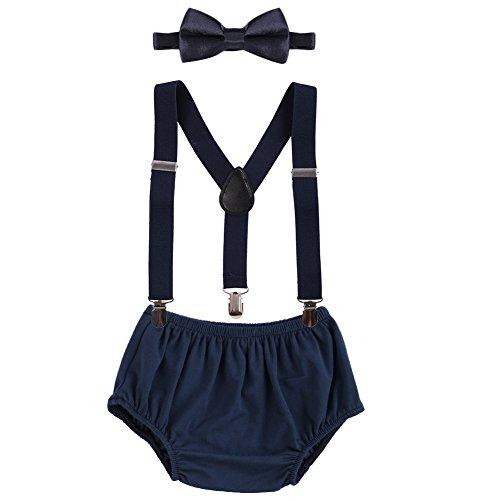 Baby Boys Cake Smash Clothes Diaper Suspenders Pants