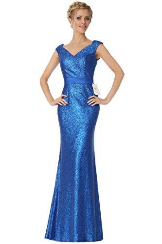formal honor EDJ1906 Sequined escote damas Royalblue Escoteados vestido tapa SEXYHER noche en de V de 8fdqnOwz