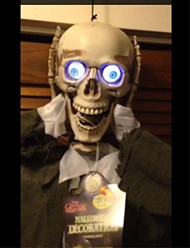 HORROR-HALL Life Size Animated Severed Head Talking Skeleton Skull Halloween Prop Decoration]()
