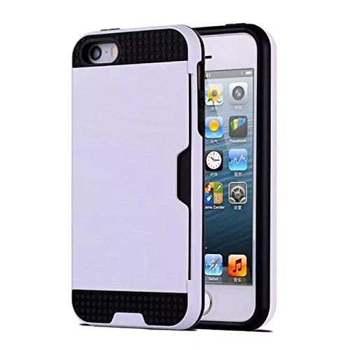 iPhone SE 5SE 5 5S Coque, Moonmini® Hybrid Cover Absorption Case Combo choc avec porte-cartes pour iPhone SE 5SE 5 5S, blanc
