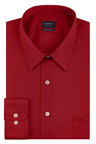 Arrow Men's Sateen Regular-Fit Solid Point-Collar Dress Shirt