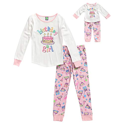 Dollie & Me Girls' Little Snug Fit Sleepwear Set and Matching Doll Outfit, Marshmallow/Pink, 6 ()