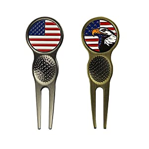 PINMEI Magnetic Golf Divot Tools with Golf Ball Markers, Set of 2 by PM