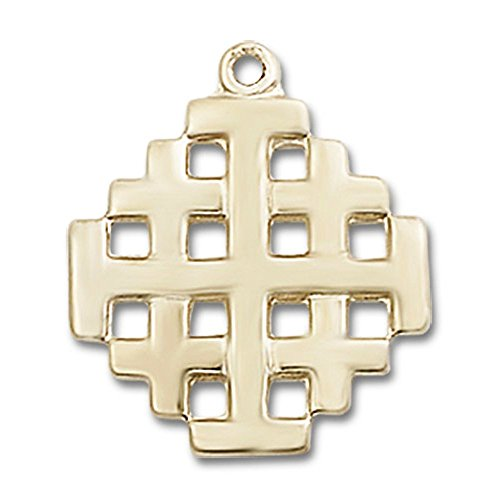 14kt Yellow Gold Jerusalem Cross Medal 3/4 x 5/8 inches by Unknown