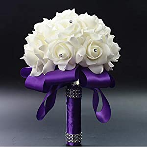 Elegant Colorful Bride Bridesmaid Rose Artificial Hands Holding Wedding Flowers Bridal Bouquets for Party Oration Royal Blue 67