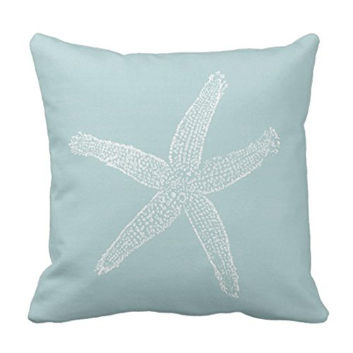 Emvency Throw Pillow Cover Green Star Vintage Starfish Pastel Seafoam Blue Fish Decorative Pillow Case Home Decor Square 18 x 18 Inch Pillowcase