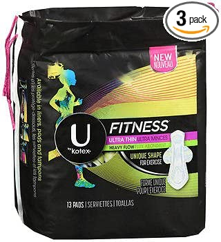 U by Kotex Fitness Ultra Thin Pads with Wings Regular - 8 packs of 15 ct