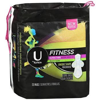 U by Kotex Fitness Ultra Thin Pads with Wings Heavy Flow - 8 packs of 13 ct, Pack of 5