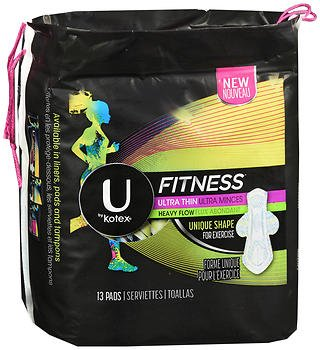 U by Kotex Fitness Ultra Thin Pads with Wings Regular - 8 packs of 15 ct, Pack of 3