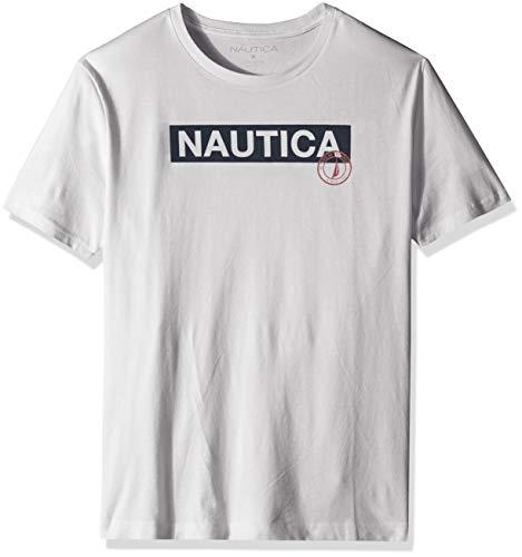 Nautica Men's Short Sleeve 100% Cotton Classic Logo Series Graphic Tee Shirt, White, Large
