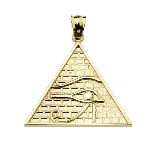 Eye 14k Solid Gold Bracelet - Fine 14k Yellow Gold Eye of Horus Pyramid Charm Pendant