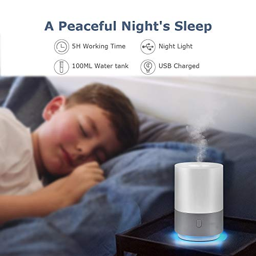 Essential Oil Diffuser Humidifier 100ML, Small Cool Mist Humidifier, USB Powered Essential Oils Diffuser with 7-Color Mood Lights, Mini Air Humidifier Vaporizer with Auto Shut Off Function, Gift Idea