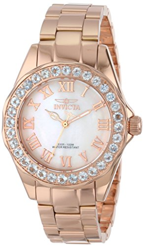 Invicta Women's 14147 Angel White Mother-Of-Pearl Dial 18k Rose Gold Ion-Plated Stainless Steel Watch