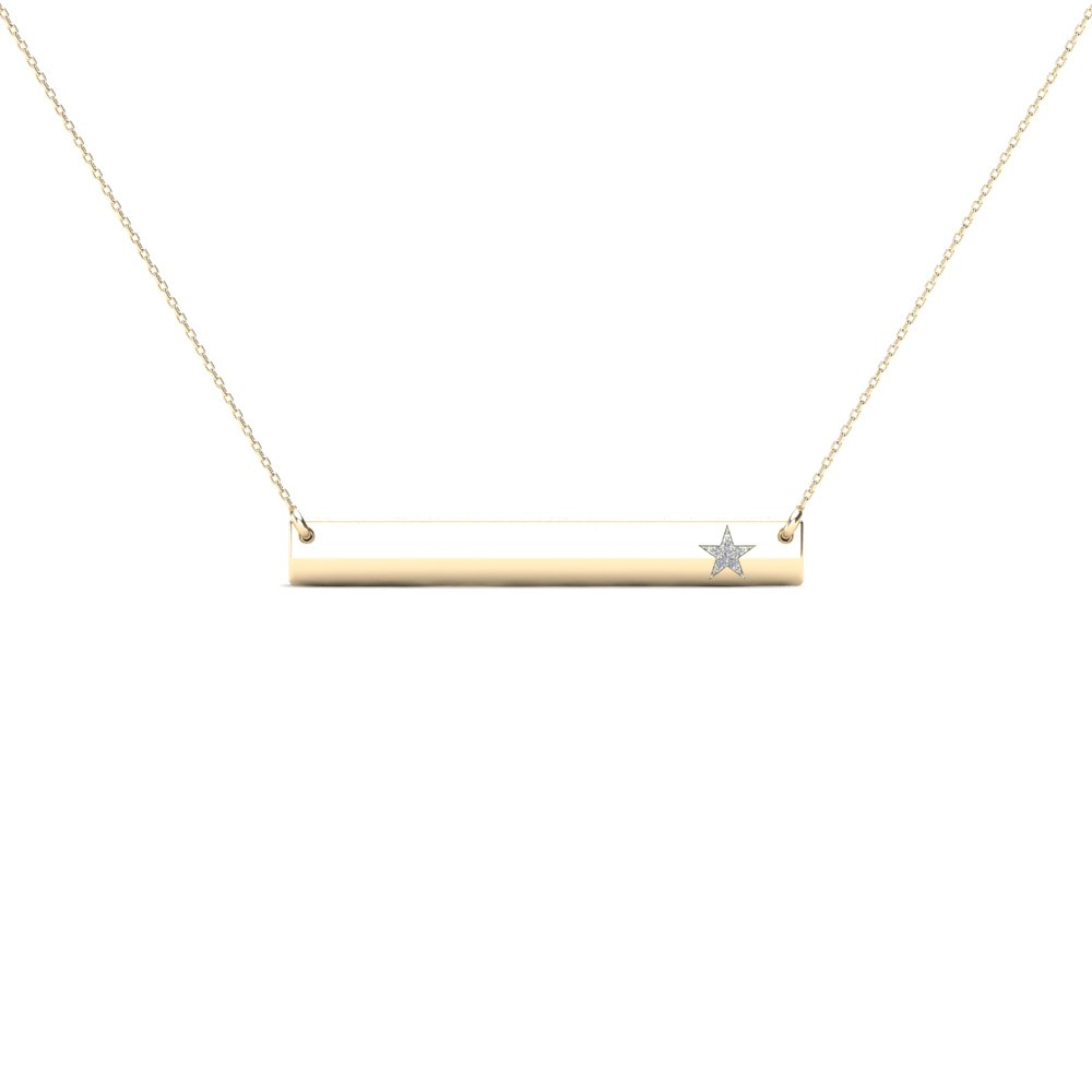 H-I, I1-I2 JewelAngel 10k Yellow Gold Bar with Diamond Accent Star Necklace