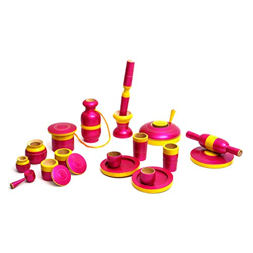TOOLART™ Traditional Handcrafted 20-Piece Wooden Kitchen Play Set for Girls (Color May Vary) (Pink)