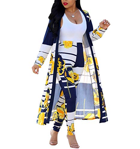 Nhicdns Womens 2 Piece Outfits Open Front Cardigan Stripe and Floral Cover up with Leggings