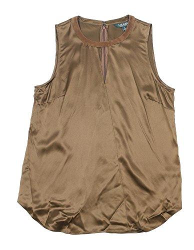 Lauren Ralph Lauren Womens Amaziah Silk Keyhole Casual Top Brown - Cheap Lauren Ralph Outlet