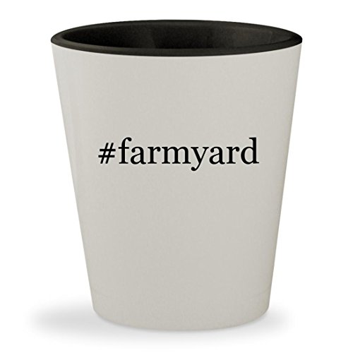 #farmyard - Hashtag White Outer & Black Inner Ceramic 1.5oz Shot - Activity Mat Farmyard Funky