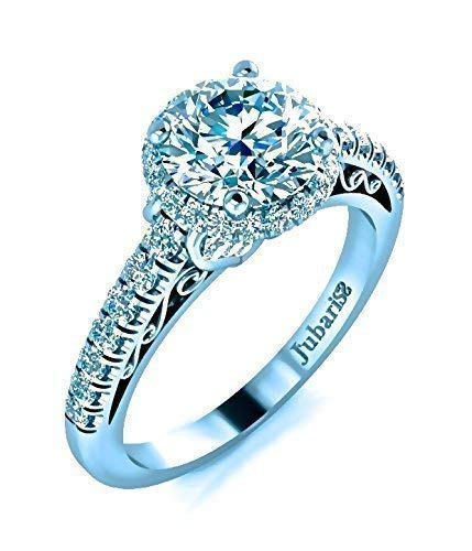 Round Halo Diamond Engagement Ring Platinum 1.75ctw GIA Cert F-G Jubariss Custom Designer Fine Jewelry