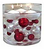 120 Red & White Pearls & Matching Gems in Jumbo/Assorted Sizes. for Vase Decorations & Table Scatters - to Float The Pearls Order The Floating Option from Size Menu Below