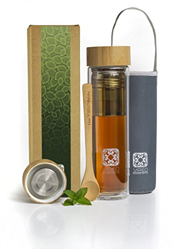 Glass Tea Infuser Travel Bottle | 15.2oz Double-Wall Thermal Travel Coffee Cool Mug with Strainer Filter Bamboo and 304 Stainless Steel Cap | Fruit Water Pitcher plus Carrying Case and Loose Tea Scope (Cool Thermal Mugs)
