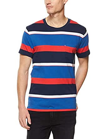 Levi's Men's Ss Set-in Sunset Pocket T-Shirts, White/Navy/Red, Large