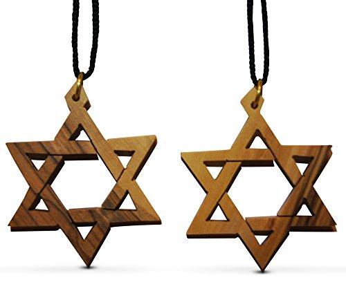 Embellishments Silver Bookmark (2-Piece Large Star of David Olive Wood Christian Necklaces Made in Bethlehem by Novel Merk)
