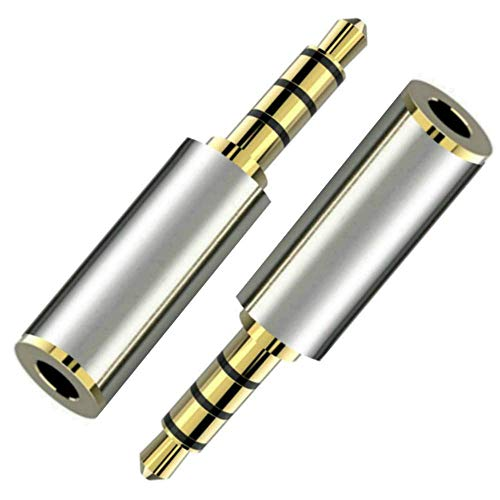 - Gold Plated 3.5mm Male to 2.5mm Female Audio Headphone Adapter Headset Converter 3 Ring Jack Plug - Stereo or Mono (2-Pack)