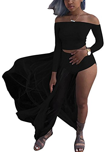 [Women Sexy Long Sleeve Crop Top and Sheer Maxi Skirt Set Black XL] (Plus Size Sexy Outfits)