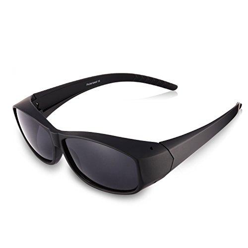 Br'Guras Polarized Over Glasses Solar Shield Sunglasses with Black Frame for Woman (Black, Black)