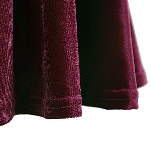 Femmes Bourgogne Jupe Court GoCo Velours Jupe Rtro Rouge Patineuse Urban Plisse Elastique Fille Mini F1R4q5