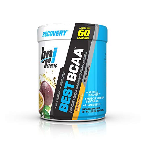BPI Sports Best BCAA - BCAA Powder - Branched Chain Amino Acids - Muscle Recovery - Muscle Protein Synthesis - Lean Muscle - Improved Performance - Hydration - Passion Fruit- 60 Servings - 1.32 Pound