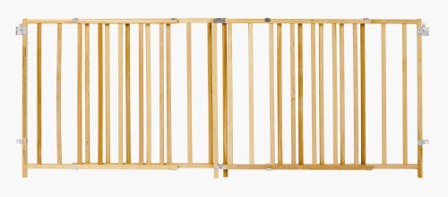 ''Extra-Wide Swing Gate'' by North States: Great for extra-wide openings, with no threshold and one-hand operation. Hardware mount. Fits openings 60'' to 103'' wide (27'' tall, Natural wood) by North States (Image #1)'