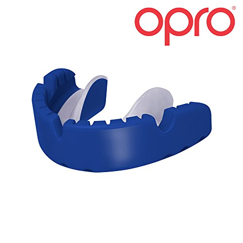 OPRO Gold Level Mouthguard for Braces for Ball, Combat and Stick Sports - 18 Month Dental Warranty (For Ages 7+)- Blue