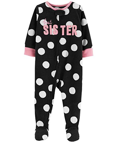 (Carter's Girls' Zippered Fleece One-Piece Footie Pajamas (Best Sister, 12)