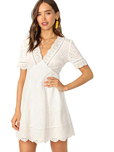 (Romwe Women's Plunging V Neck Eyelet Scallop Short Sleeve A-line Dress White L)