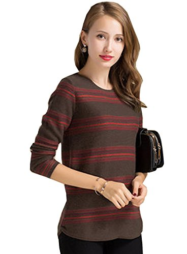 METERDE Women's Crewneck Striped Print Pullover Sweater Jumper M (Crewneck Lambswool Sweater Striped)