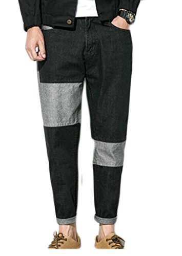 hot sell GAGA Men Basic Colorblock Tapered Casual Loose Denim Pants Trousers Jeans save more