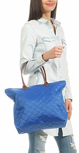 malito Moda T200 Zainetto Donna Blu Manico Borsa Shopper Trapuntata tracolla Borsetta Colori 1qZwqIr