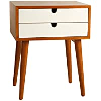 Porthos Home Ravel Mid-Century Double-Drawer Walnut Side Table, White