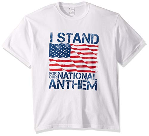 (Soffe MJ Men's Patriotic American Flag 4th of July Short Sleeve T-Shirt, I I Stained for The National Anthem, X-Large)