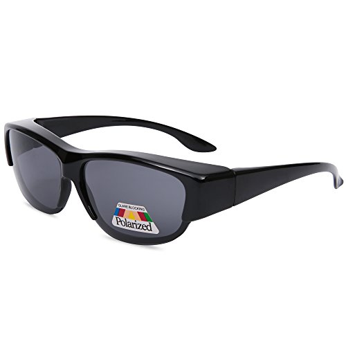 EYEGUARD Unisex Fashion Fit Over Polarized Lens Cover Sunglasses - Wear Over Prescription - Frame Over Sunglasses
