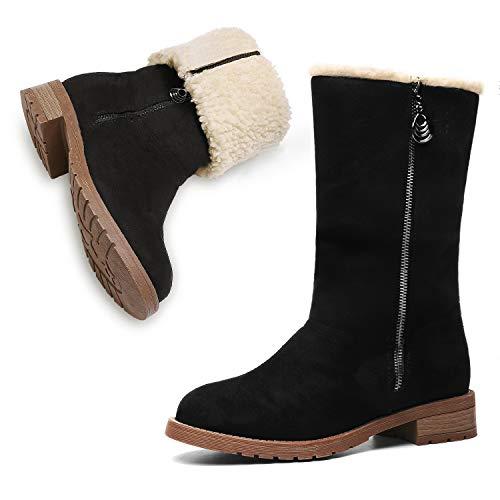 MEGNYA Women's Winter Short Boots Faux Suede Chunky Heel Booties 19NXME02-7, W21-black&khaki (Best Womens Snowboard Boots 2019)