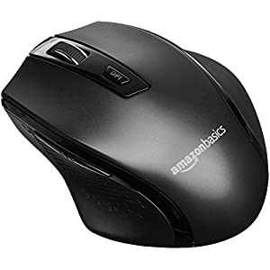 Amazon Basics Ergonomic Wireless PC Mouse - DPI adjustable - Black