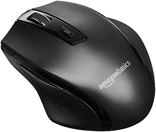 AmazonBasics Ergonomic Wireless PC Mouse - DPI adjustable - Black